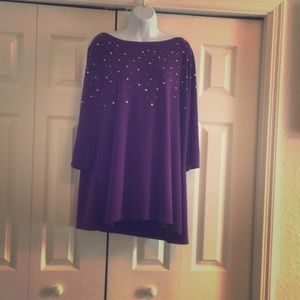 3/4 length sleeve purple top